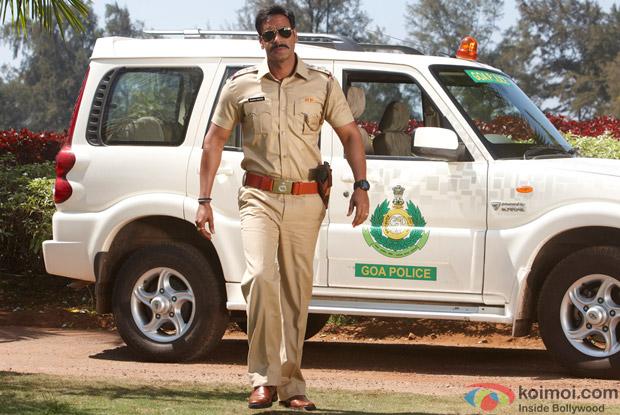 Ajay Devgan as a Cop in a Still from Singham Movie