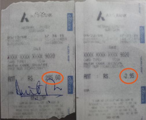 Amrita Singh's credit card slip