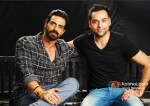 Arjun Rampal And Abhay Deol At Mehboob Studio For Chakravyuh Music Interviews