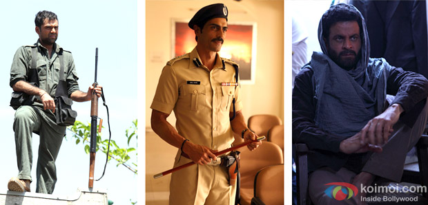 Abhay Deol, Arjun Rampal and Manoj Bajpai in a still from Chakravyuh Movie