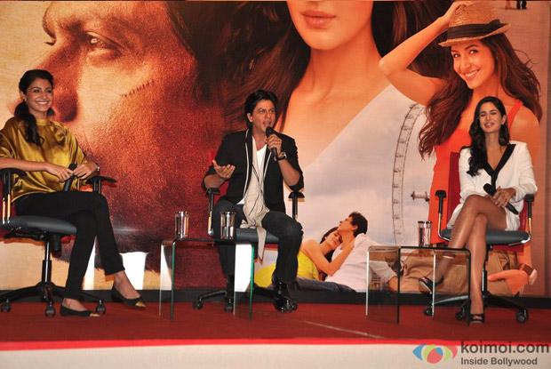 Anushka Sharma, Shah Rukh Khan and Katrina Kaif at Jab Tak Hai Jaan Press Conference