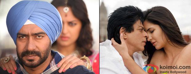 Ajay Devgn and Sonakshi Sinha from Son Of Sardaar & Shah Rukh Khan and Katrina Kaif from Jab Tak Hai Jaan