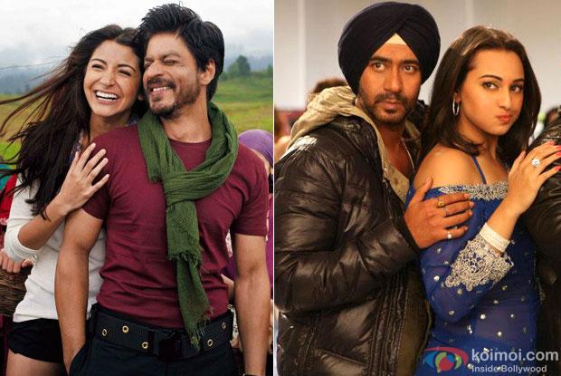 Shah Rukh Khan & Anushka Sharma from Jab Tak Hai Jaan and Ajay Devgn & Sonakshi Sinha from Son Of Sardaar
