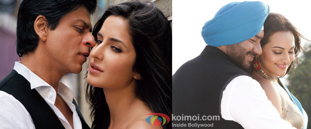 Shah Rukh Khan and Katrina Kaif from Jab Tak Hai Jaan Movie Still & Ajay Devgn and Sonakshi Sinha from Son Of Sardaar Movie Still