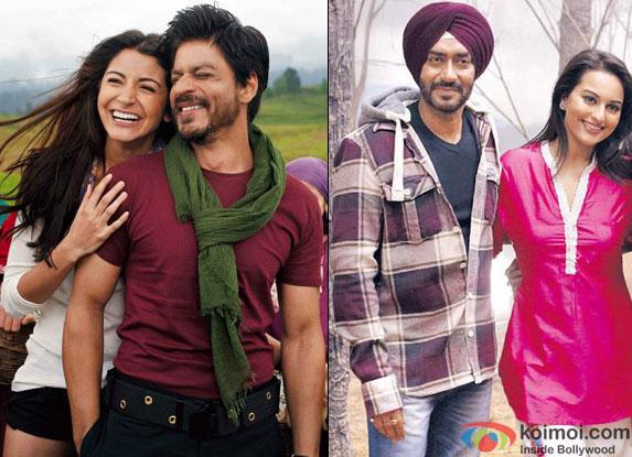 Anushka Sharma & Shah Rukh Khan from Jabn Tak Hai Jaan and Ajay Devgn & Sonakshi Sinha from Son Of Sardaar