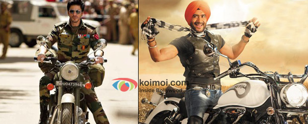 Shah Rukh Khan in a still from Jab Tak Hai Jaan and Ajay Devgn in a still from Son Of Sardaar
