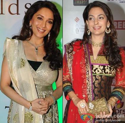 Madhuri Dixit and Juhi Chawla