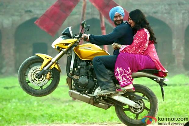 Ajay Devgn and Sonakshi Sinha in a still from Son Of Sardaar Movie
