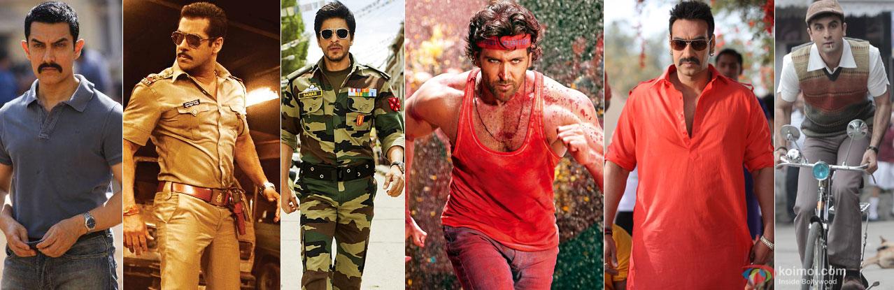 Aamir Khan (Talaash), Salman Khan (Dabangg 2), Shah Rukh Khan (Jab Tak Hai Jaan), Hrithik Roshan (Agneepath), Ajay Devgn (Bol Bachchan), Ranbir Kapoor (Barfi!)