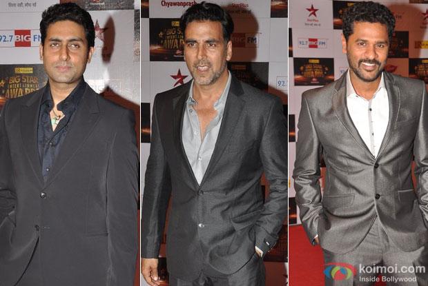 Abhishek Bachchan, Akshay Kumar and Prabhu Deva At Big Star Entertainment Awards 2012