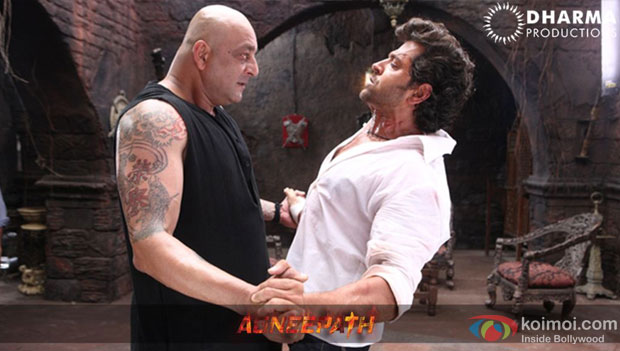 Sanjay Dutt and Hrithik Roshan in a still from Agneepath Movie