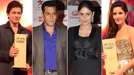 Shah Rukh Khan, Salman Khan, Kareena Kapoor and Katrina Kaif At Big Star Entertainment Awards 2012