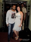 Bollywood actor Sachin Joshi with his actress wife Urvashi Sharma at the first look of film Mumbai Mirror in PVR Cinemas Juhu, Mumbai Pic 3