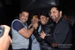 Bollywood actor Vindu Dara Singh, Kamaal Rashid Khan and Raju Srivastav at her birthday party celebration in Mumbai