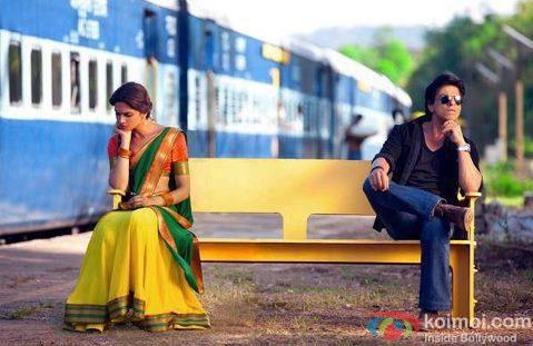 Deepika Padukone and Shah Rukh Khan in a still from Chennai Express Movie