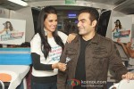 Neha Dhupia and Arbaaz Khan at a promotional event of ''Gillette'' inside Delhi Airport Metro Express in New Delhi Pic 2