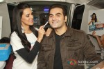 Neha Dhupia and Arbaaz Khan at a promotional event of ''Gillette'' inside Delhi Airport Metro Express in New Delhi Pic 1