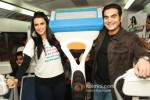 Neha Dhupia and Arbaaz Khan at a promotional event of ''Gillette'' inside Delhi Airport Metro Express in New Delhi Pic 3
