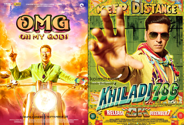 Akshay Kumar in OMG Oh My God! and Khiladi 786 Movie Poster