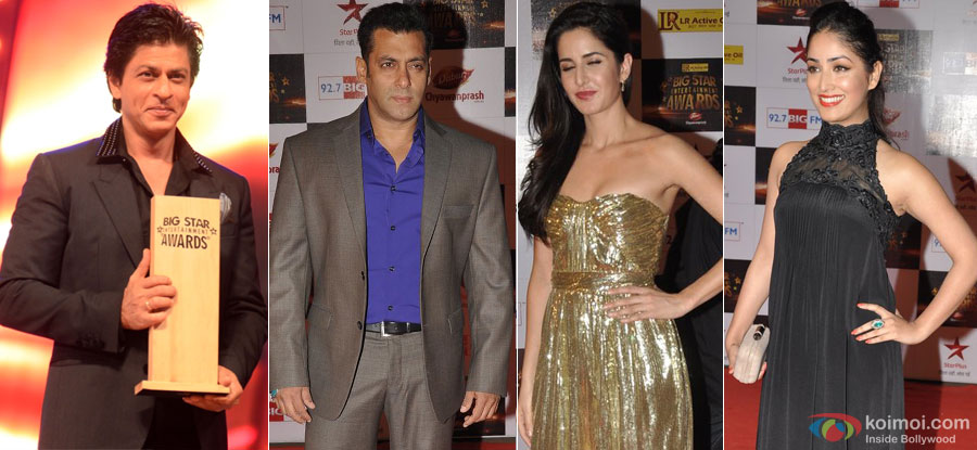 Shah Rukh Khan, Salman Khan, Katrina Kaif and Yami Gautam At Big Star Entertainment Awards 2012