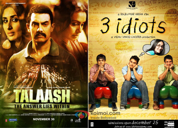 Talaash and 3 Idiots Movie Poster
