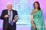 Cipla Chairman Yusuf Hamid and HT Media Chairman Shobhana Bhartia at the CNN-IBN Indian of the Year 2012 awards in Delhi