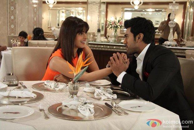 Priyanka Chopra and Ram Charan Teja in a still from Zanjeer Movie