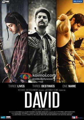 Vinay Virmani, Neil Nitin Mukesh And Vikram In David Movie Poster