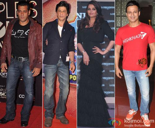Salman Khan, Shah Rukh Khan, Aishwarya Rai Bachchan and Vivek Oberoi