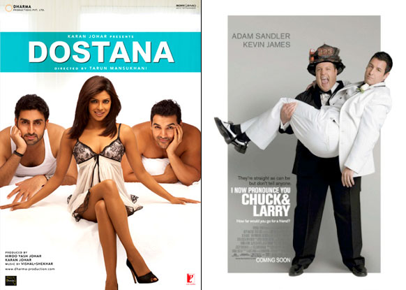 Dostana and I Now Pronounce You Chuck & Larry Movie Poster