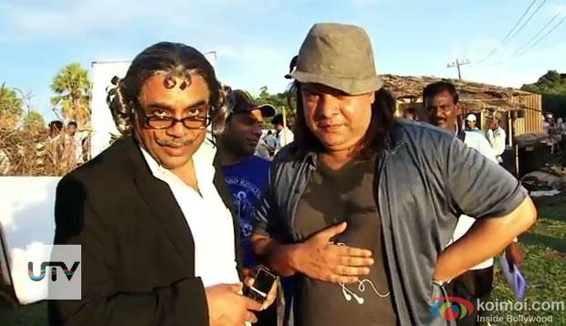 Paresh Rawal and Sajid Khan on the sets of Himmatwala Movie
