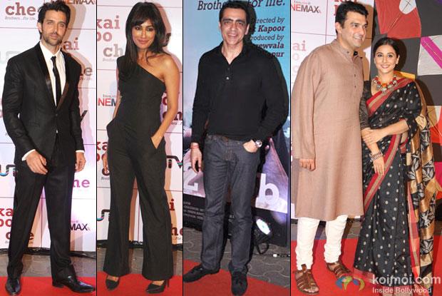 Hrithik Roshan, Chitrangada Singh, Ajay Bijli, Siddharth Roy Kapur and Vidya Balan At Kai Po Che Premiere