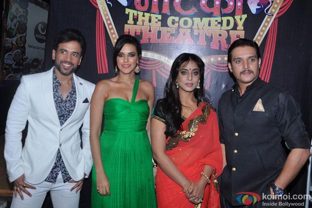 Tusshar Kapoor, Neha Dhupia, Mahie Gill and Jimmy Shergill on the sets of Nautanki: The Comedy Theatre show
