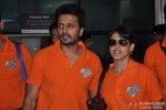 Ritesh Deshmukh and Genelia D'Souza Deshmukh with CCL Team Veer Marathi returns from Ranchi Pic 1