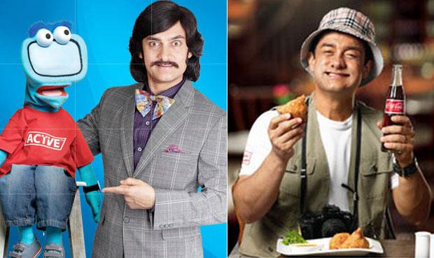 Aamir Khan stills from Tata Sky and Coca Cola ad