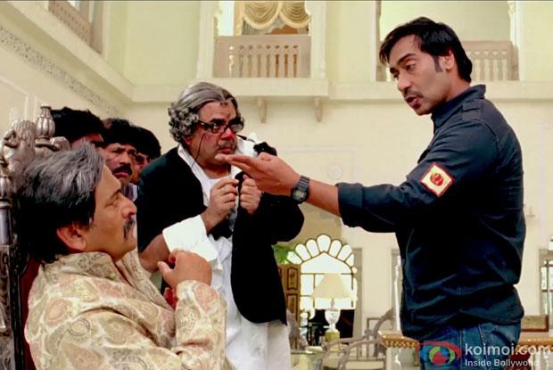 Mahesh Manjrekar, Paresh Rawal and Ajay Devgn in a still from Himmatwala Movie
