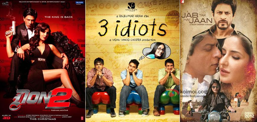 Don 2, 3 idiots and Jab Tak Hai Jaan Movie Poster