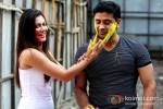 Payal Rohatgi And Sangram Singh play Holi at Kamal Air Compound Pic 2