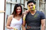 Payal Rohatgi And Sangram Singh play Holi at Kamal Air Compound Pic 1