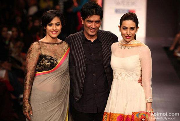 Kajol, Manish Malhotra and Karisma Kapoor