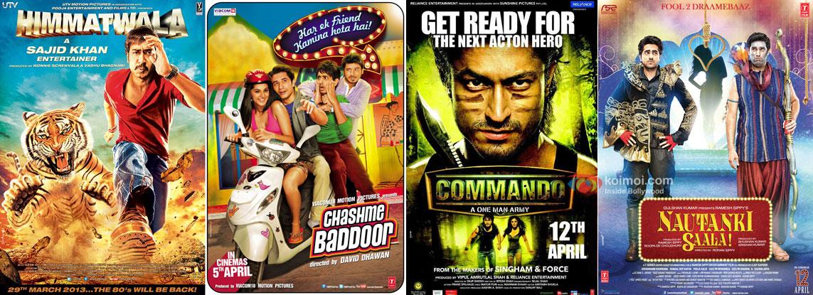Himmatwala, Chashme Baddoor, Commando and Nautanki Saala Movie Poster