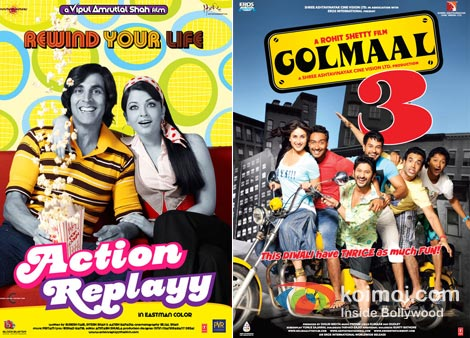 Action Replayy And Golmaal 3 Movie Poster