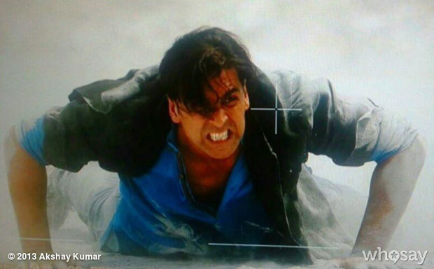 Akshay Kumar on the sets of 'Boss'