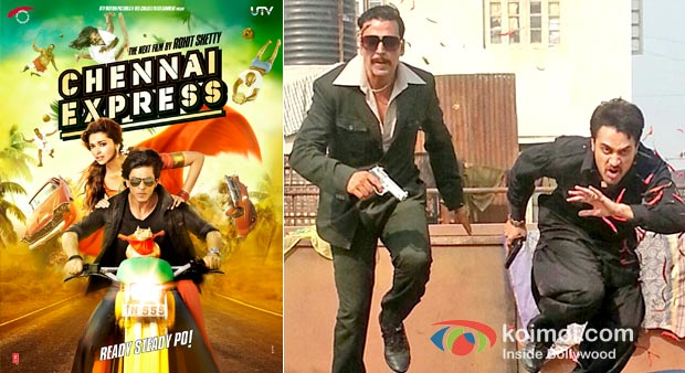 Chennai Express Movie Poster And Akshay Kumar And Imram Khan in Once Upon a time in Mumbaai Again Movie Stills