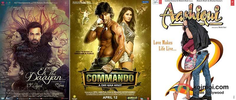 Ek Thi Daayan, Commando And Aashiqui 2 Movie Poster