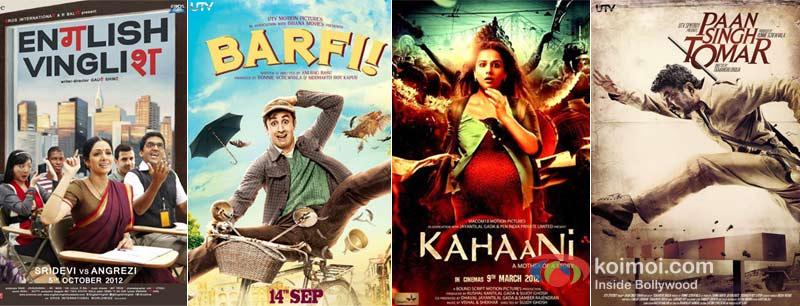 English Vinglish, Barfi, Kahaani, Paan Singh Tomar Movie Poster