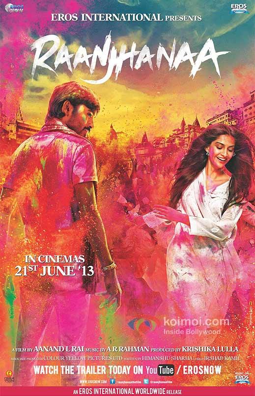 Dhanush And Sonam Kapoor In Raanjhanaa Movie Poster