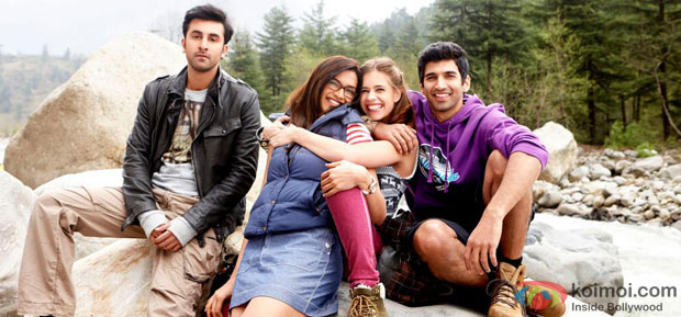 Ranbir Kapoor, Deepika Padukone, Kalki Koechlin and Aditya Roy Kapur in a still from Yeh Jawaani Hai Deewani Movie