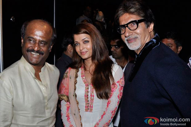 Rajnikanth, Aishwarya Rai Bachchan and Amitabh Bachchan