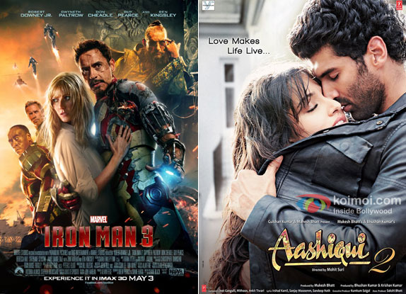 Iron Man 3 and Aashiqui 2 Movie Poster